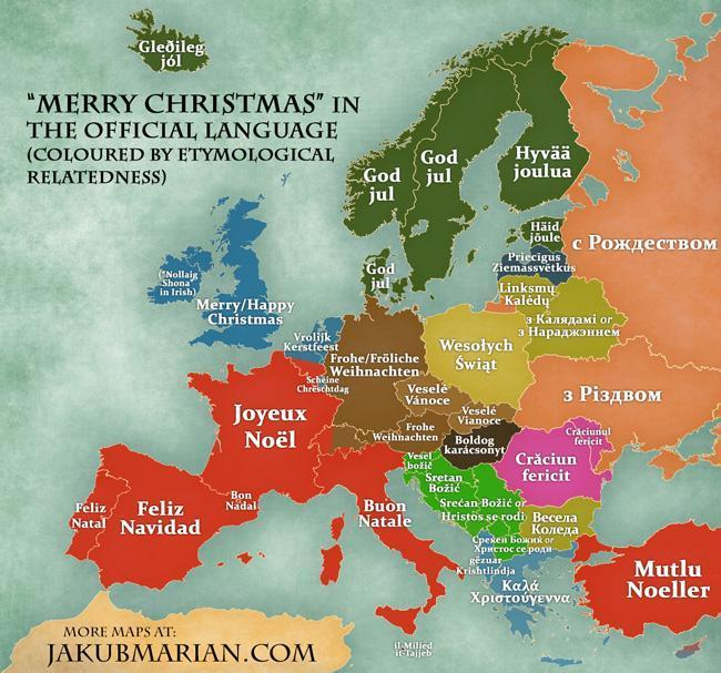 Merry Christmas in the Languages of Europe